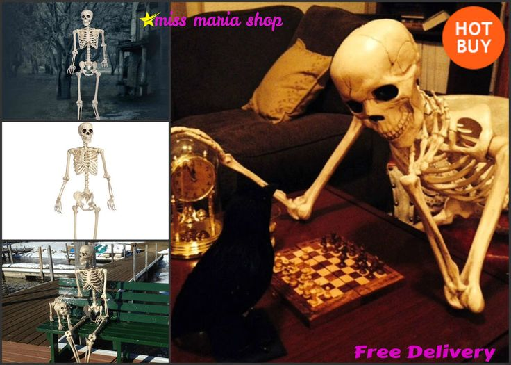 Life Size Halloween Skeleton Party Props Fancy Dress 5ft Poseable Red LED Eyes