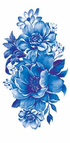 Vintage Blue Floral Flower Temporary Tattoos for Women - MyBodiArt.com