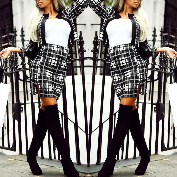 Fashion Checkered Print Coat Skirt Set