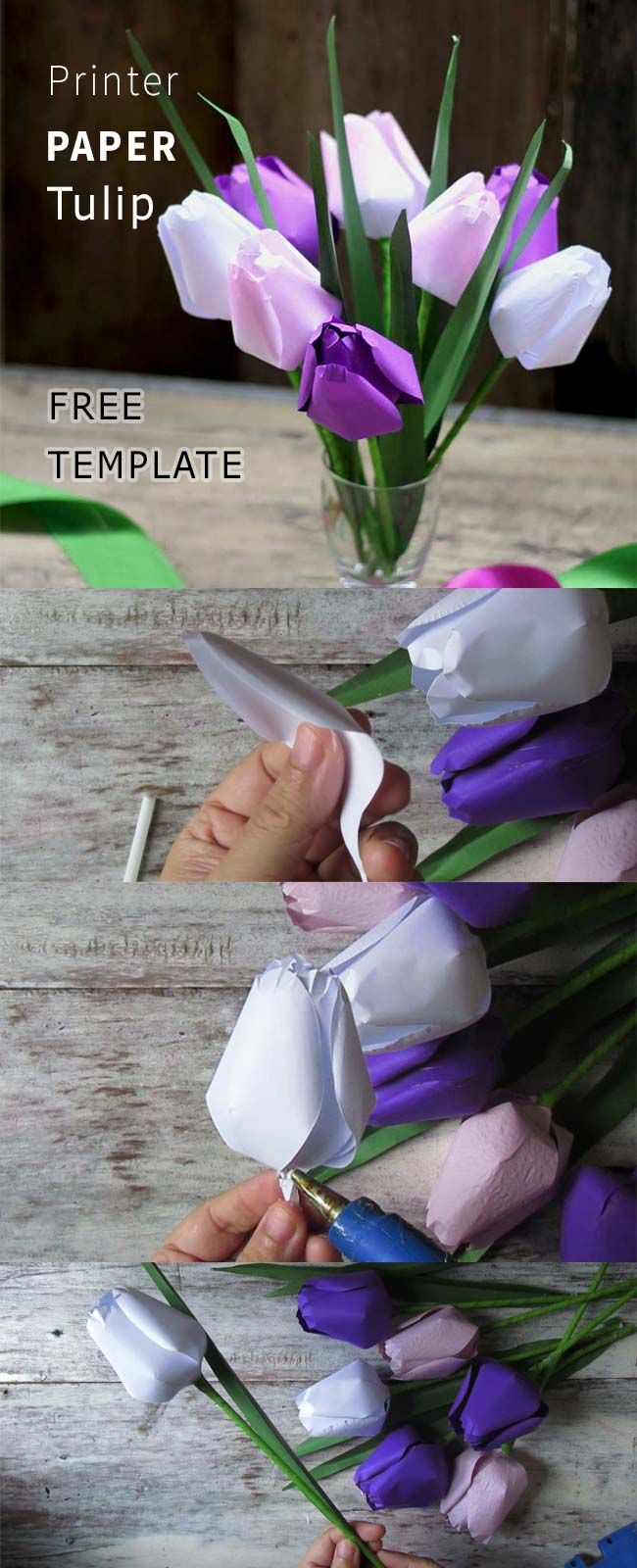 Free Template And Tutorial To Make Paper Tulip From Printer Paper And Straw Paperflowers F Paper Flower Tutorial Origami Flowers Tutorial Origami Flowers Diy