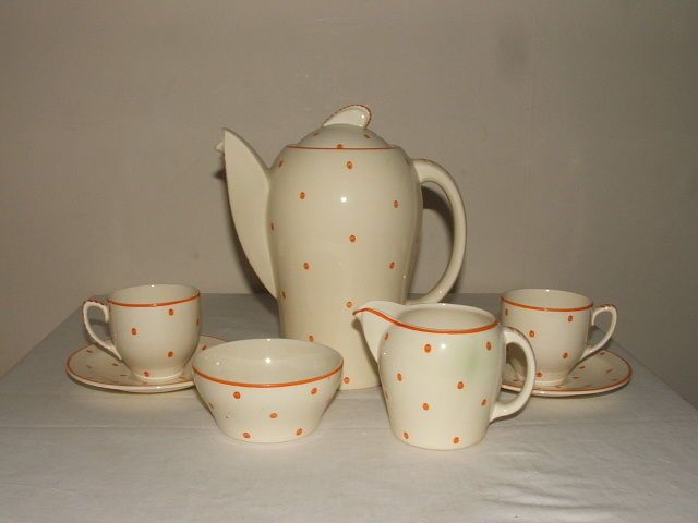 Susie Cooper ART Deco Orange Polka Dots Coffee 4 TWO Rare Stunning | eBay
