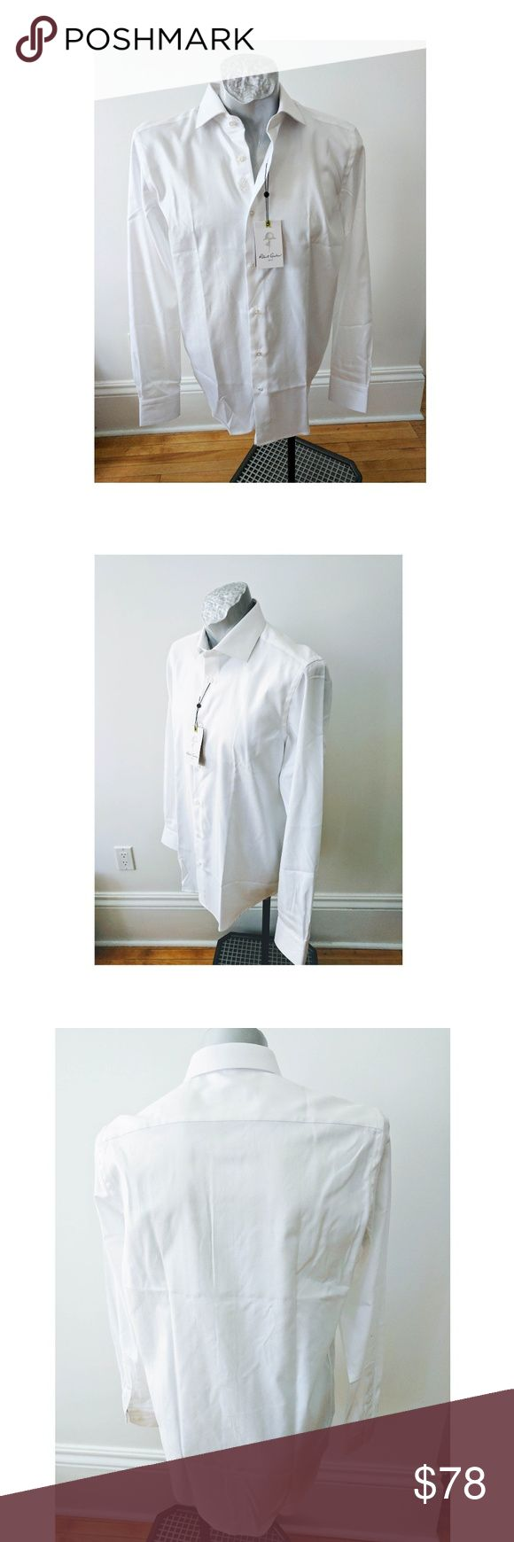 """Robert Graham Lambert White Biz Shirt 15.5 LS 36 Robert Graham White Lambert Business Cotton Button Men Shirt Sz 15.5 S M LS  Size  15.5 / M  White with line pattern ( under cuff red top stiching - can't been seen when cuffs buttons)  Long Sleeve  Length  32""""  ( by collar seam to shirt hem)  Chest   22""""    ( measured flat - multiply by 2 for circumference)  Sleeve length 36 """" (from center back at nec seam to bottom of cuff) -   Flaw : on underside of one cuff there is a small mark - arrow…"""