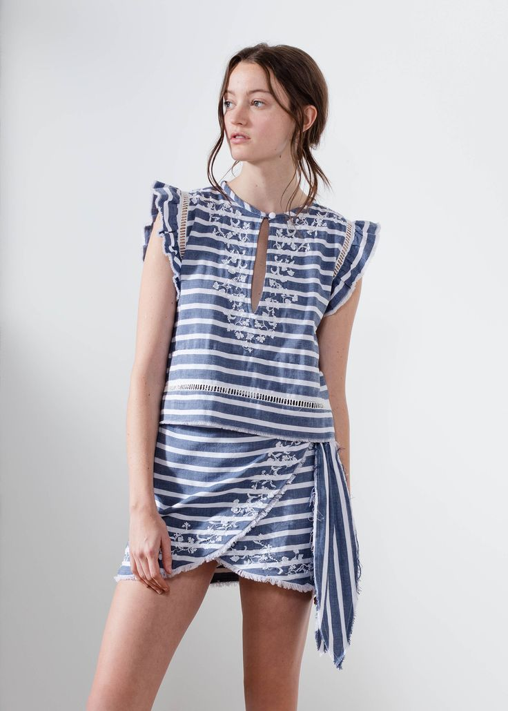Aje navy stripe wrap mini dress mirtillo.   #AjeTheLabel #Fashion #Style #Lace #BroderieAnglaise #Embroidery #Frill #Sequins #Texture #Exclusive #Summer17 #EdwinaRobinson #AdrianNorris #White #Chambray #Navy #Nautical #LaDolceVita #Travel #Inspiration #