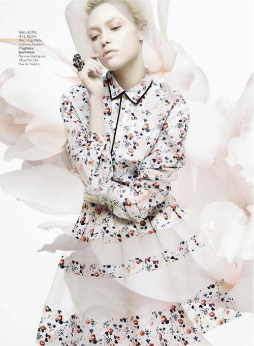 flower print + piping Cora Keegan by Jean-François Campos forMarie Claire US (January 2013).