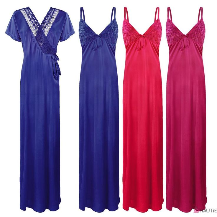 LADIES SATIN LACE SLEEVELESS PLUS SIZE NIGHTIE NIGHTWEAR SET ROBE 2PC in Clothes, Shoes & Accessories, Women's Clothing, Skirts | eBay