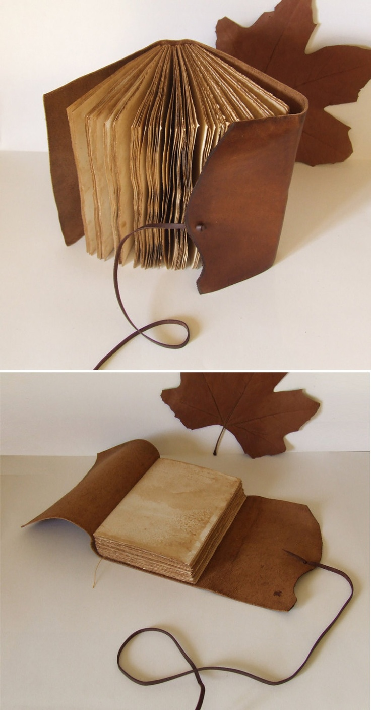 Rustic Leather Journal, antiqued brown leather, tea-stained pages. $50.00, via Etsy.