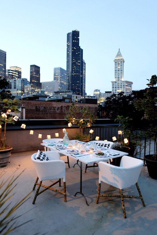 Rooftop Dinner Party Decor Inspiration repinned by https://www.etsy.com/uk/shop/CowDogDesign?section_id=14586949&ref=shopsection_leftnav_3
