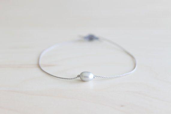 Minimalist wish bracelet/ grey pearl bracelet/ by HandsLoveJewelry