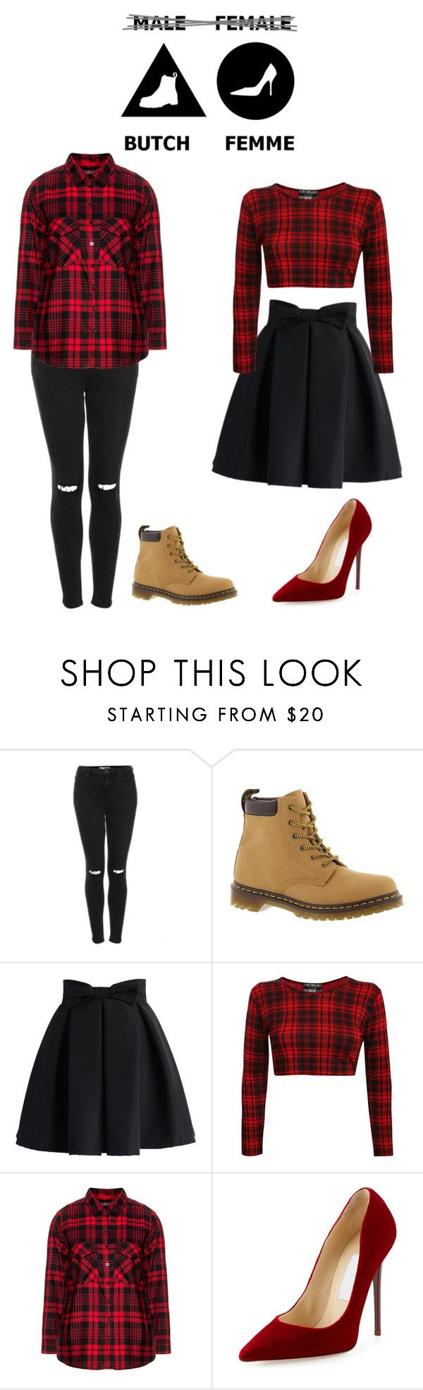 """""""Butch/Femme"""" by cora-mccutcheon ❤ liked on Polyvore featuring Topshop, Dr. Martens, Chicwish, Frapp, Jimmy Choo, femme, Lesbian and butch"""