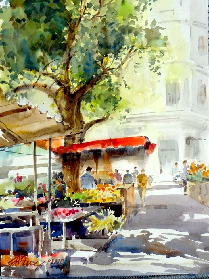 A Flower and Fruit Market in Paris by Ong Kim Seng