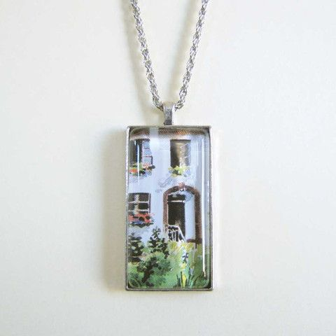 Postcard Pendant - Cottage only $15 @ OMG! Cute Kitten - Australian Handmade Jewellery