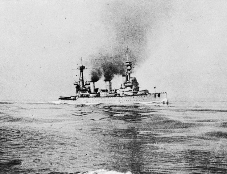British Battle Cruiser HMS Indefatigable at about 3pm on 31st May 1916  half an hour before she was sunk. Indefatigable was lost at the Battle of Jutland 31st May1916 as part of the 2nd Battle Cruiser Squadron when she was repeatedly struck by German salvos and exploded at the Battle of Jutland