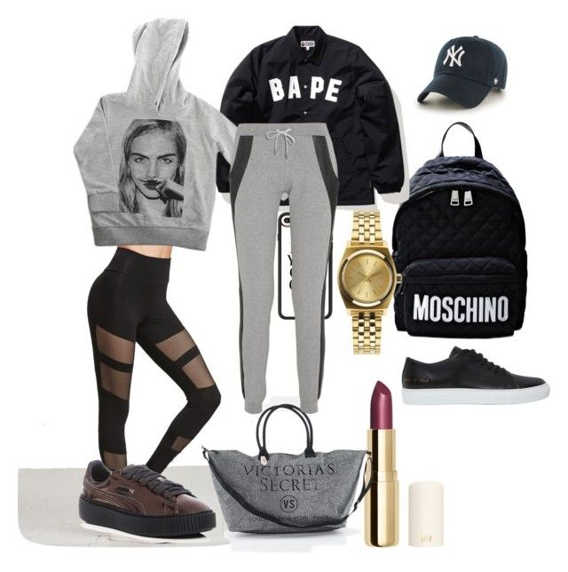 """Bape"" by madisonkiss on Polyvore featuring Common Projects, Moschino, Nixon, A BATHING APE, H&M, '47 Brand, Victoria's Secret, Puma, ElevenParis and Casetify"