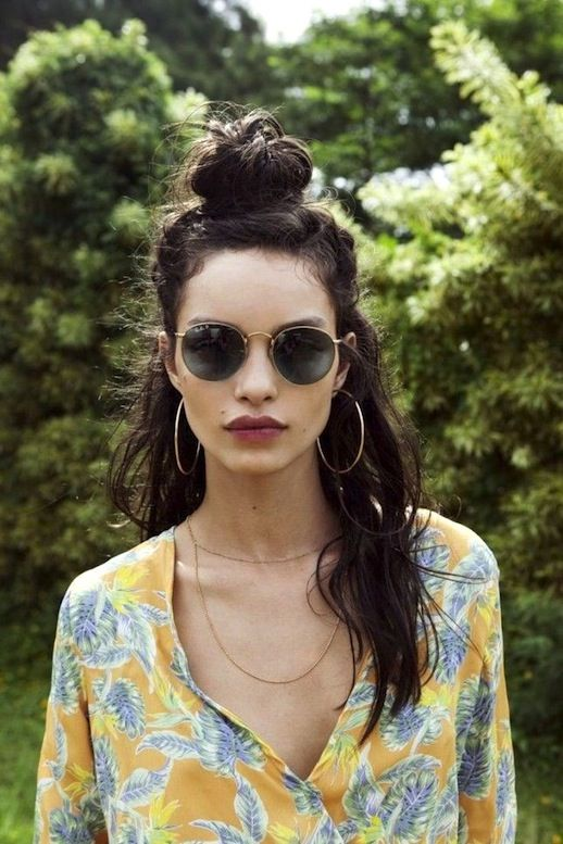 8 Le Fashion Blog 20 Inspiring Half Up Top Knot Hairstyles Long Brown Wavy Hair Bun Via For Love And Lemons