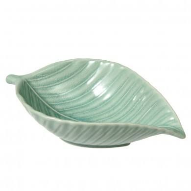 Pale Green Leaf Shaped Small Serving Bowl