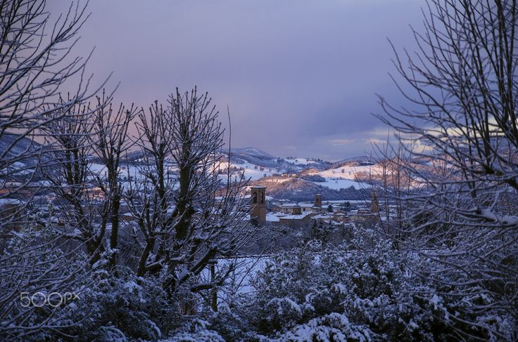 Hometown - My hometown, Fabriano, in white.