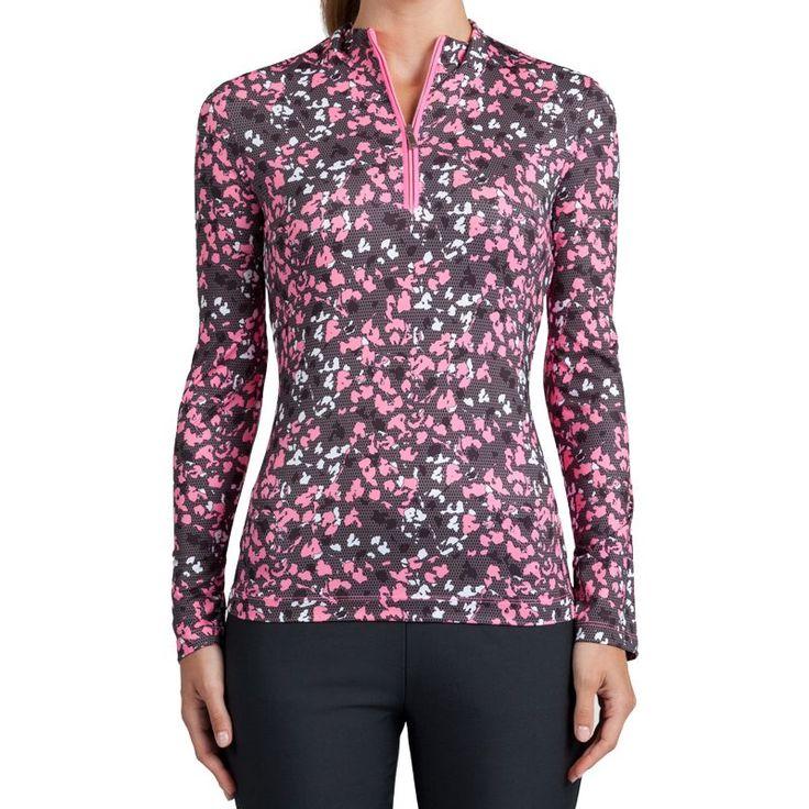 Tail Women's Printed 1/4-Zip Golf Top, Size: Medium, Floral Mesh