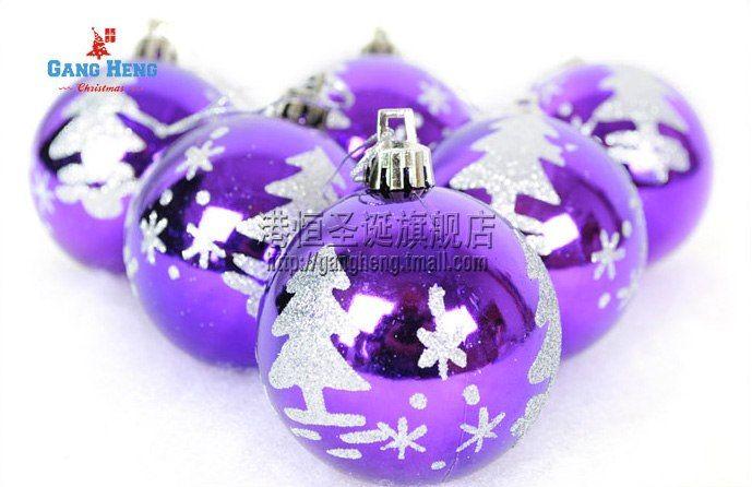 http://www.pokoopka.com/item/17632915123 Фиолетовые ёлочные шары. Набор из 6 штук, диаметр 6 см.