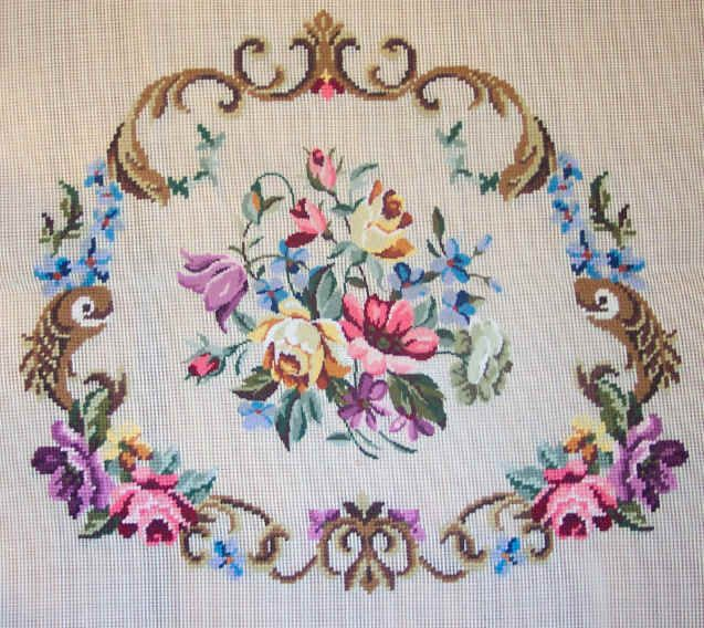 needlepoint images | Preworked Needlepoint for Chairs and Benches