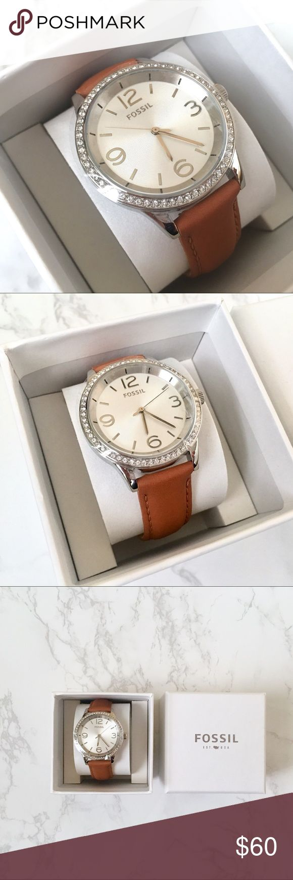 FOSSIL Watch with Leather band Brand New Fossil watch with tan leather band and rhinestones encrusted on the face. Received as a gift but never worn or taken out of the box. Make me an offer! I will never decline. :) Accessories Watches