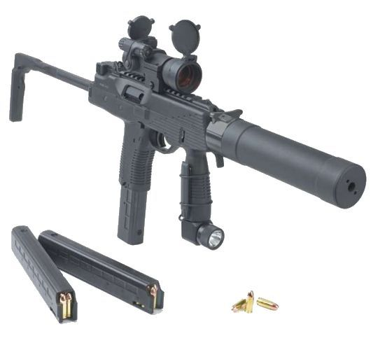 Brugger+Thomet MP 9 SMG w/ red dot sight, tactical light, B+T silencer (suppressor) & spare magazines. Caliber: 9x19mm Luger/Para. Weight: 1.4 kg less magazine. Length (stock closed/open): 523 / 303 mm. Barrel length: 130mm. RoF: 900 RpM. MagCap: 15, 20, 25 or 30 rd box. Effective Range: 50-100m. The Brьgger Thomet MP9 submachine gun started its life in 1992 as the Steyr TMP. The famous Steyr-Mannlicher company developed it in Austria, but Austrian export licensing laws, lack of a sales and…