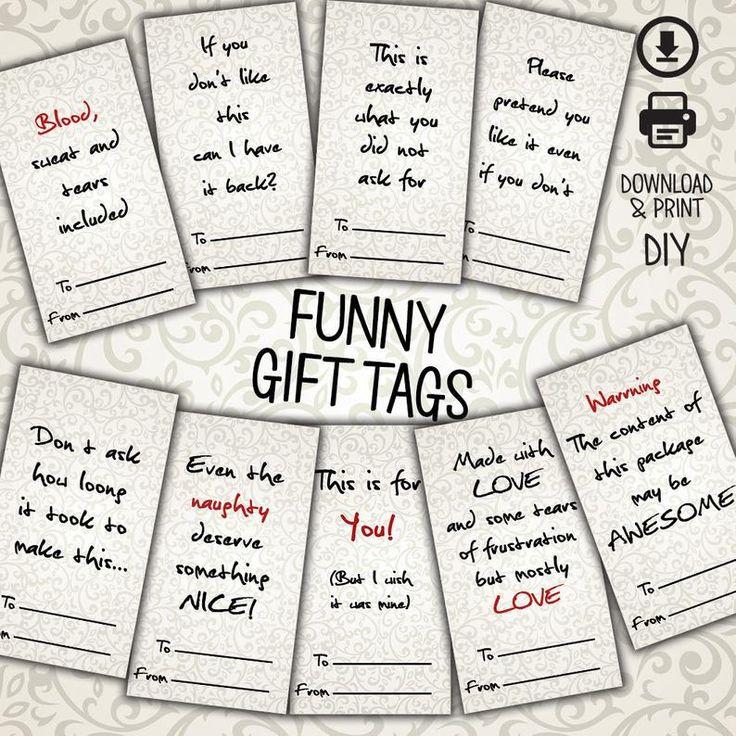 Gift Tags, Funny Gift Tags, Christmas Tags, Elegant Tags