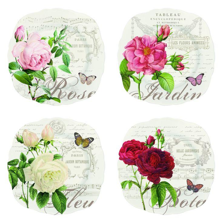 Zestaw talerzy 4 szt. z porcelany NUOVA R2S - DECO Salon || Set of 4 #porcelain #dessert #plates. Great idea for an elegant #gift!