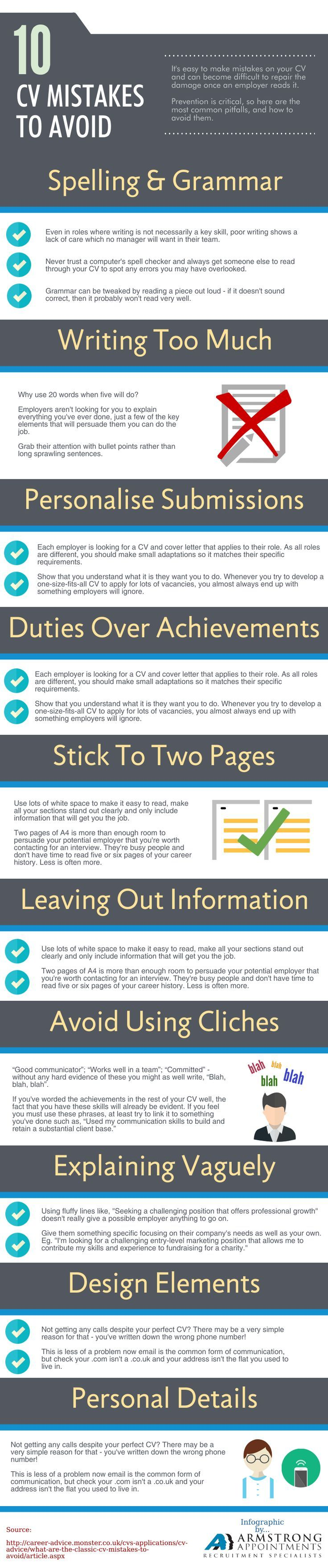 What are the 10 Common CV Mistakes you Must Avoid? http://theundercoverrecruiter.com/cv-mistakes-to-avoid/