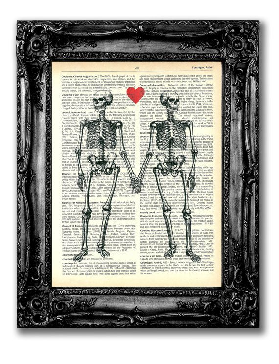 Skeleton Love Art Print Antique Book Page by TopLondonPrints, £6.00