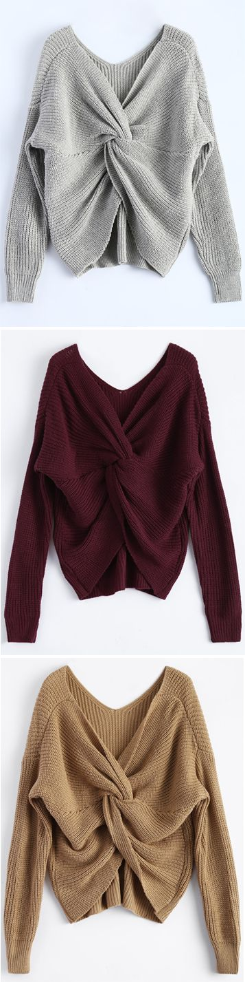 $19.99 V Neck Twisted Back Sweater