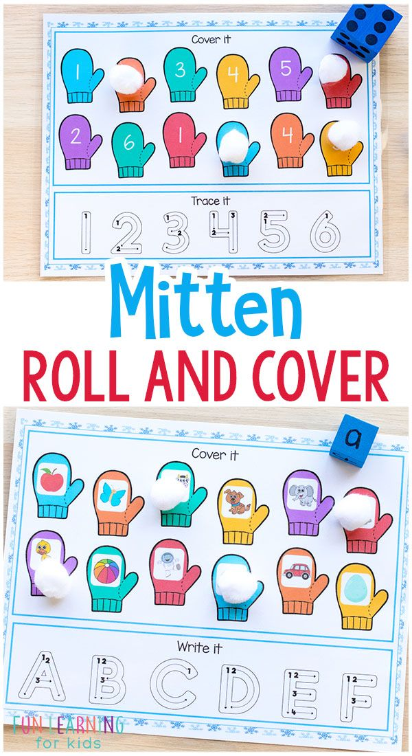 Make learning letters and numbers fun and effective with these mitten roll and cover mats. They are perfect for winter math and literacy centers or morning work. Use the alphabet version to teach letter sounds and letter formation and the number version to teach number sense and number formation. #winter #centers #literacy #math