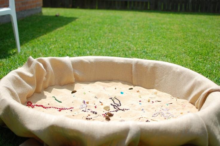 Activity idea - Buried treasure (made in a kiddie pool lined with burlap) - http://1.bp.blogspot.com/_WihFC39xmqE/Sf-7uFQDj0I/AAAAAAAAAG8/aNX2vb2dOXU/s1600-h/DSC_0844.JPG