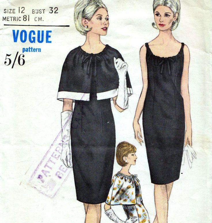 Vintage 60s DRESS & CAPELET Sewing Pattern Bust 32  Sz 8 RETRO Evening COCKTAIL