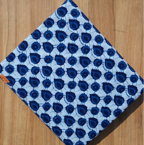 5 Yard Dress Material , Indigo Print , Bagru Print  ,Dabu Print, Block Print Fabric, Hand Block Print , Cotton Fabric Flower Print #044