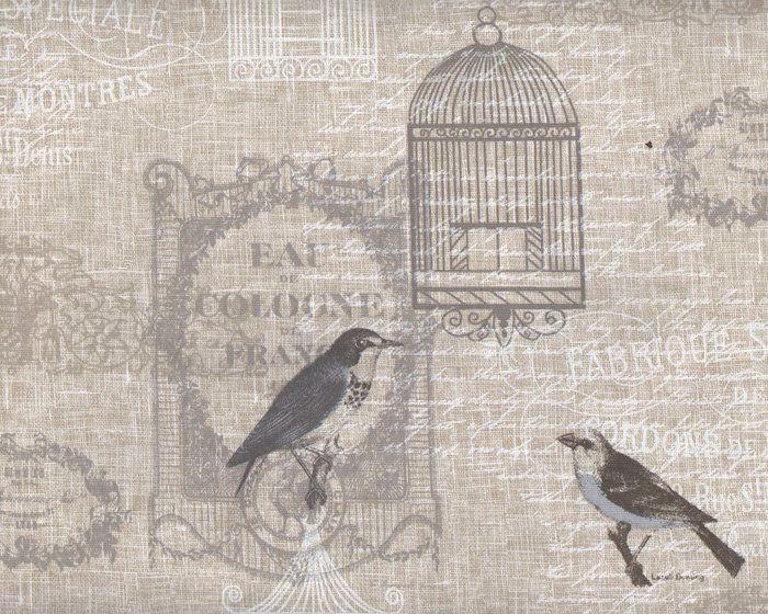 Englischer Dekostoff Clarke & Clarke VICHY, Vögel, Käfige und Schrift, natur-grau