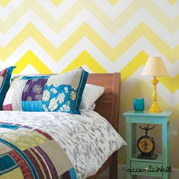 Chevron Yellow Peel & Stick Fabric Wallpaper by AccentuWall