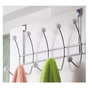 Chrome 10 Hook Over The Door Towel Storage