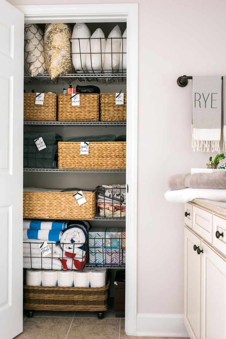 164 Best Organizing Linen Closets Images On Pinterest Bathrooms Organization Ideas And