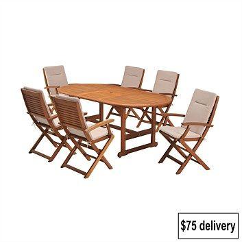 Briscoes - Coastal Classic Kingsbury 7 Piece Outdoor Furniture Setting