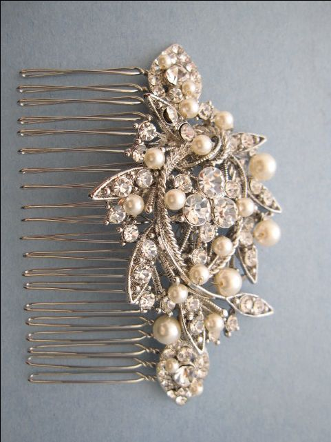 Vintage+Style+Bridal+Hair+CombCrystal+Rhinestone+by+ChantalEveleen,+$52.00