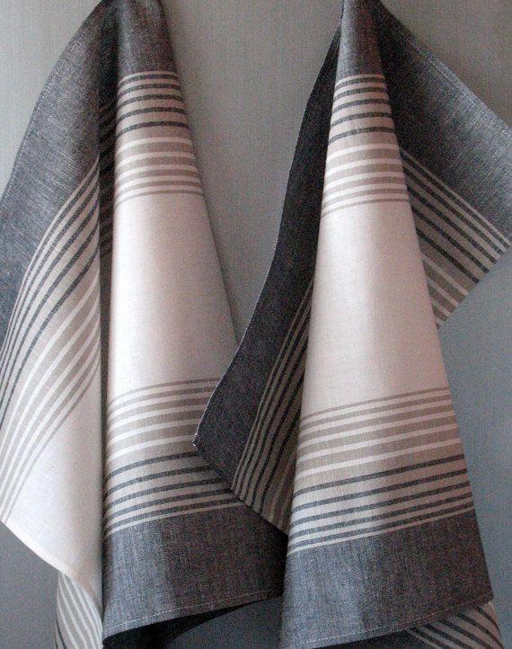 Linen Cotton Dish Towels Tea Towels set of 4 by Coloredworld