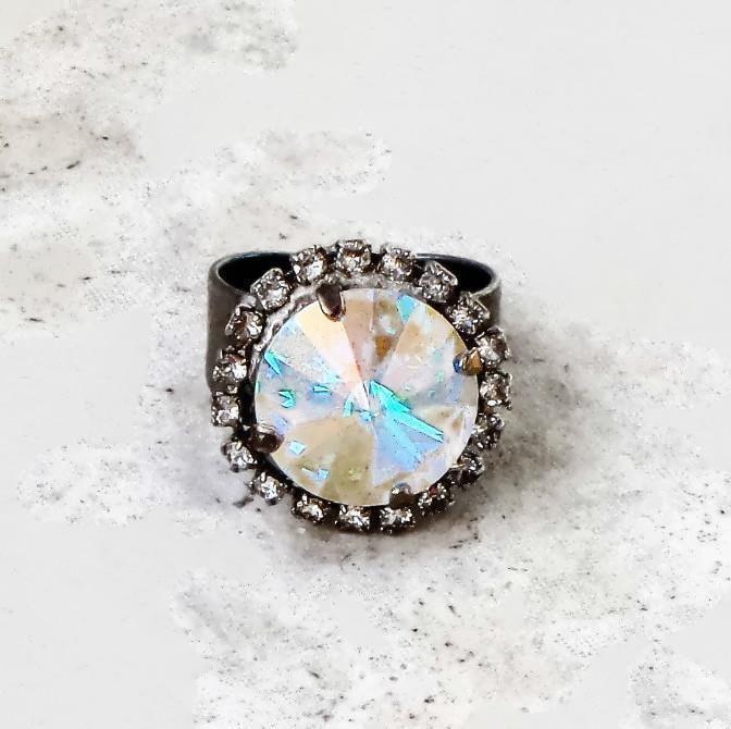 8eaa63afa Swarovski crystal 14mm rivoli fancy stone ring clear crystal AB #Swarovski
