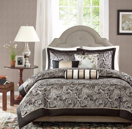 MADISON PARK ベッドカバー・リネン デコ枕3個付き♪ エレガントな掛け布団カバー6点セット 2色あり