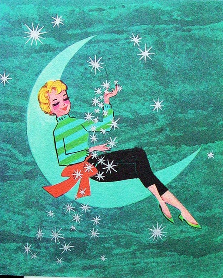 Lovely lady is on the moon about Christmas.