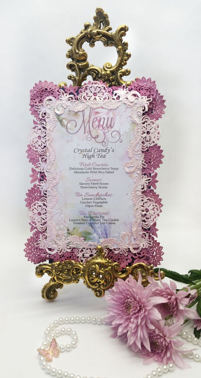 Full edible lace and fondant Menu bordered in beautiful lace