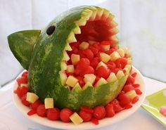 watermelon shark - will do this for my next pool party!  (www.simplyswanky.com tells how to make it)