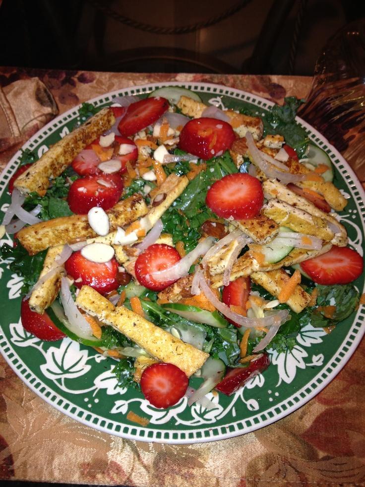 Seared Tofu Strawberry Kale Salad: This delightful salad will make ...
