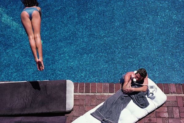Herb Ritts, Richard Gere, Poolside, 1982: Southern California, Herbs Ritts, Swim Pools, The Angel, Palms Spring, Richard Gere, Backyard Oasis, American Dreams, New Books