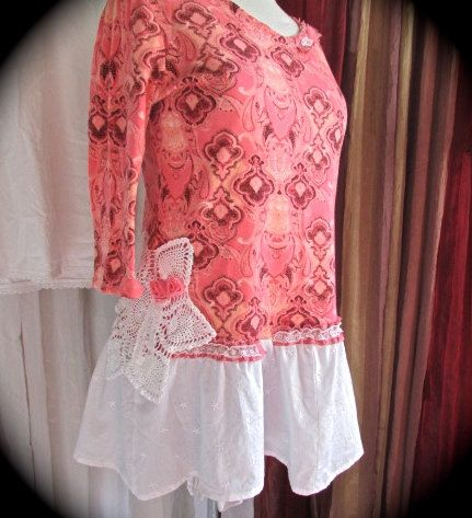 Pink Coral Top romantic shabby tattered chic by TatteredDelicates