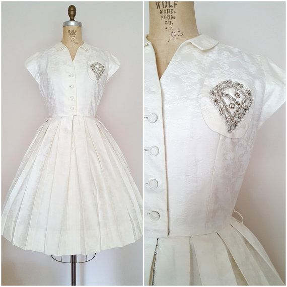 Vintage 1950s Dress / Charles Warner / White / Floral Embroidery / Beaded Crest…